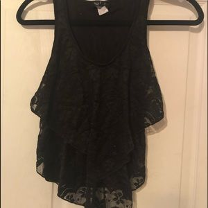 Tops - Black ruffley shirt small